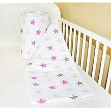 Amilian® Bettumrandung Nest Kopfschutz Nestchen 420x30cm, 360x30cm, 180x30 cm Bettnestchen Baby Kantenschutz Bettausstattung Sternchen GROß rosa