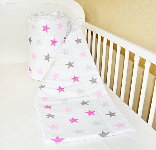 Bettumrandung Nest Kopfschutz Nestchen 420x30cm, 360x30cm, 180x30 cm Bettnestchen Baby Kantenschutz Bettausstattung Sternchen GROß rosa (420x30cm)