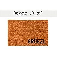 GRÜEZI. Kokos-Fußmatte Teppich Fußabtreter 40 x 60 cm Geschenk Geburtstag Einzug