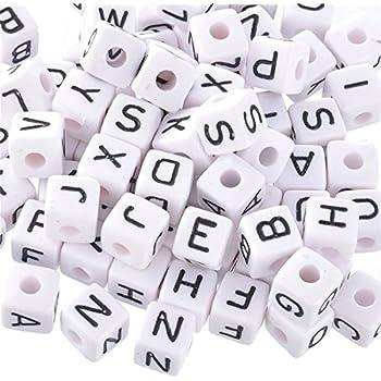 100 Alphabet Artisanat Perles Blanc Cube 10 mm assortiment lettres