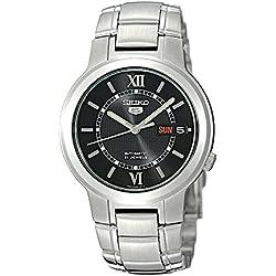 Seiko snka23k 1-5 Gent's Automatic Watch Analogue Black Dial Steel Strap Grey