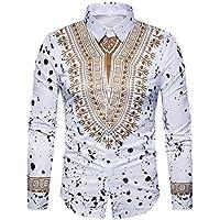 Herren Oberteile,TWBB Autumn Winter African Print Sweatshirt CardiganShirt Casual Tops Lange Ärmel Männer V-Neck Hemd
