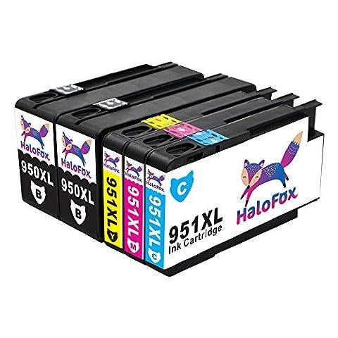 HaloFox 5 Cartouches d'encre 950XL 951XL Compatible pour HP Officejet Pro 8610 8620 8600 Plus 8630 8615 e-ALL-in-One imprimante 8100 ePrinter 251dw 271dw 276dw Multifunction Imprimante Noir Magenta Cyan Jaune