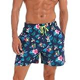 Belloo Badeshorts Herren Beach Shorts Sommer Kurze Hose mit Blumenmuster für Surfen,Blume/Vogel XXXL