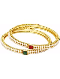 Efulgenz Stylish Ethinc Gold Plated Pearl Studded Designer Bangles For Women And Girls