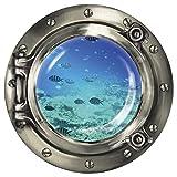 """Wandkings Wandsticker Bullauge """"Unterwasserwelt - Fischschwarm im Meer"""