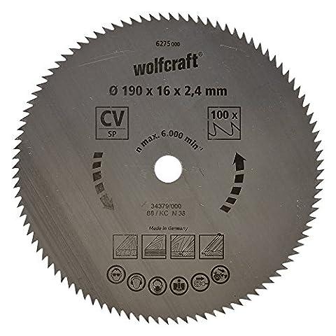 Wolfcraft 6275000 Lame scie circulaire CV 100Dts Diamètre 190 x 16 mm