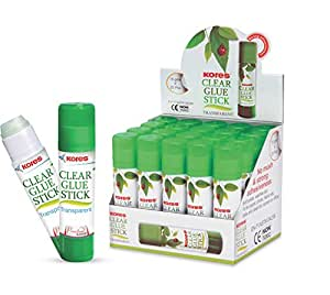 Kores Clear Glue Stick - 15 grams, Pack of 20