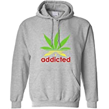 Addicted Marajuana Cannabis Weed Leaf Rasta Colours Legalize It Smoke Pot Adict Law Breaker Hoodie Cool Funny Gift Present Unisex Fit