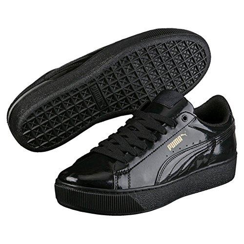 Puma Damen Vikky Platform Patent Sneaker Schwarz (Black-Black)