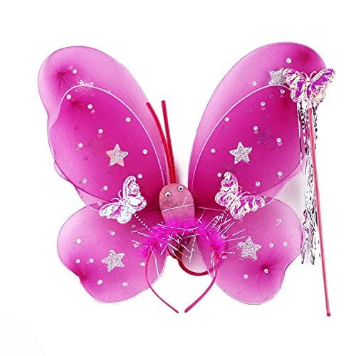 thematys Schmetterling Kostüm 3-teilig Verkleidungs-Set für Kinder in 3 Flügel, Haarband und Zauberstab perfekt für Fasching, Karneval & Cosplay - Hit Girl Kostüm Kind