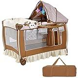 COSTWAY Babybett Reisebett Klappbett Babyreisebett Kinderbett Kinderreisebett Laufstall + Wickelauflage (Braun)
