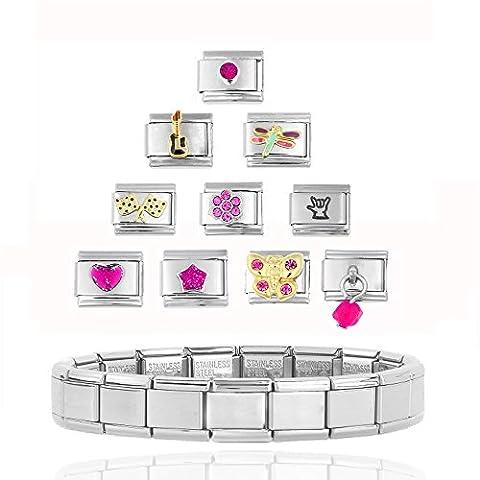 Akkki Italian Charms Armband Classic Silber italy gold Edelstahl Links glider Kult modele Blume tiere Herz Basisarmband 9mm/18 Glieder matt Farbe kompatibel mit Original strass stein Zirkonia Pink