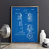Poster,Lighthouse Patent Vintage Blueprint Posters and Prints,Wall Art Canvas Painting Sailor Nautical Art,Gift Picture Home Wall Decor A 20X27Inch(50X70Cm)