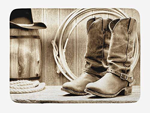 YnimioHOB Western-Badematte, traditionelles Rodeo-Zubehör mit Roper-Stiefeln in Vintage Nostalgic Wild Photo, Plüsch-Badezimmerdekormatte mit Rutschfester Rückseite, schwarz und weiß - Western-stiefel-zubehör