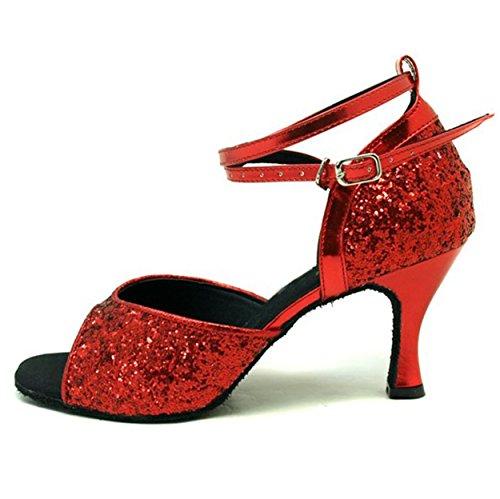 Colorworldstore Chaussures Pour Femmes Pour Une Danse Latino-américaine Ouverte Avec Des Paillettes Rouges / Noires Rouge