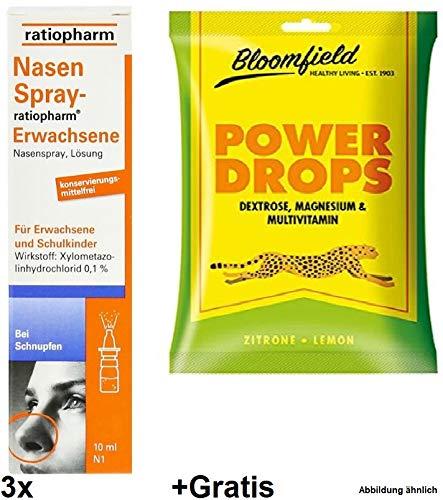 Nasenspray Ratiopharm 3x 15ml : Für Erwachsene + Gratis: 1 x 30g POWER DROPS mit Dextrose