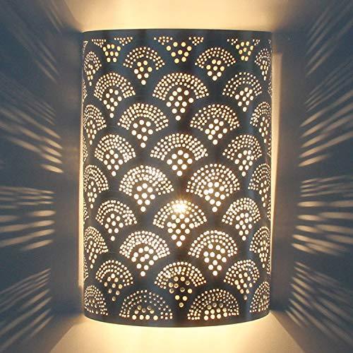 Marrakech Accessoires - handgefertigte marroquí Lámpara de pared REAL versilberte lámpara fabricado...