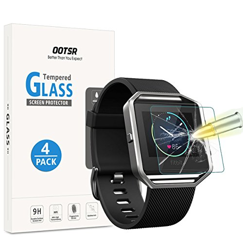 OOTSR (4 Stück) Panzerglas Schutzfolie für Fitbit Blaze, Displayschutzfolie für Fitbit Blaze [Kratzfest] [Transparent] [Blasenfrei]