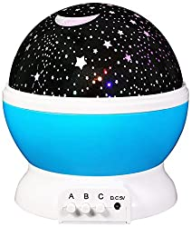 LMTECH Baby Room Night Light Moon Star Projector 360 Degree Rotation - Night Light Lamp,Romantic 3 Modes Colorful LED Moon Sky Star Dreamer Desk Rotating Cosmos Starlight Projector