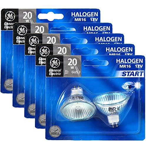 5 x Doppelpack General Electric Halogen-Reflektor/Start / GU5.3 / dimmbar / 12 Volt / 20 Watt / 36 ° Abstrahlungswinkel / 2900 Kelvin / MR16 Spot/Warmweiß - Ge Halogen-leuchten