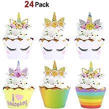 Konsait Unicornio Cupcake Topper de Tarta Magdalenas Decoración Cuerno y Orejas Doble Cara envolturas para Niños