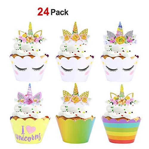 ake Toppers und Cupcake Wrappers, Unicorn Kuchen Dekoration für mädchen Kindergeburtstag, Party, Hochzeit (24 Stücke) ()