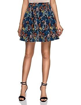 oodji Ultra Mujer Falda de Punto con Pliegues