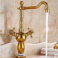 SBWYLT-Bagno in stile europeo rosa oro coppia di foro singolo rubinetto di lavabo di piatti caldi e freddi , high