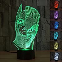 ILS - 3D LED Funny Joker Illusion Desk Table Light Touch 7 Color Changing Night Lamp