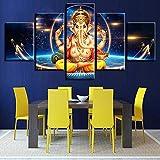 Mddjj Poster Quadri In Tela Modellata 5 Pezzi Ganesha Elefante Dio Dipinti Decorazione Casa Camera Da Letto Wall Art Quadro Moderno Stampe