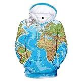 Baiomawzh Kapuzenpullover Unisex 3D Weltkarte Bedruckte Baumwolle Langarm Drawstring Mit Taschen Mit Kapuze Sweatshirt Mode Teen Männer Beiläufig Bequemer Hoodie Sweatjacke (L, Blau)