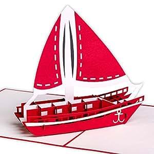 Karte für Flitterwochen, Urlaubskarte 3D mit Segelschiff / Katamaran, Pop Up, handgefertigt, Karte als Reisegutschein, Grußkarte mit Schiff, Grußkarten aus dem Urlaub, Sommerurlaub, Meer