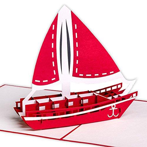 ☘ XXL 3D-Pop-Up-Karte mit Segelschiff/Katamaran z.B. als Reise-Gutschein, Wellness-Urlaub, Verpackung für Geldgeschenke o. Urlaubsgeld, Erlebnis-Gutschein für Kurzurlaub, Urlaubskarte