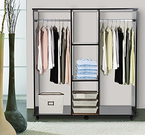 Homcom Double Mobile Open Wardrobe With Clothes Hanging