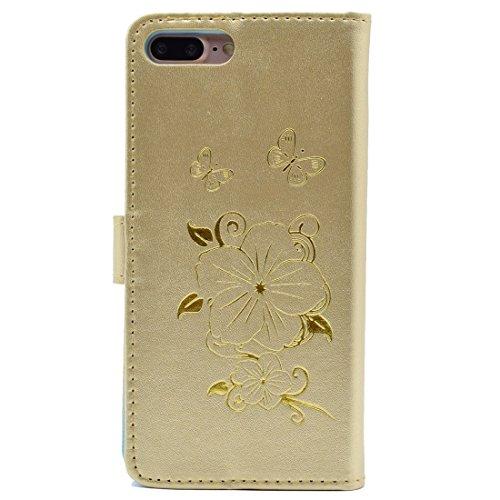 iPhone Case Cover Pour iPhone 7 Plus Bronze papillon motif flip horizontal en cuir PU avec portefeuille et cartes et porte-monnaie ( Color : Black ) Gold
