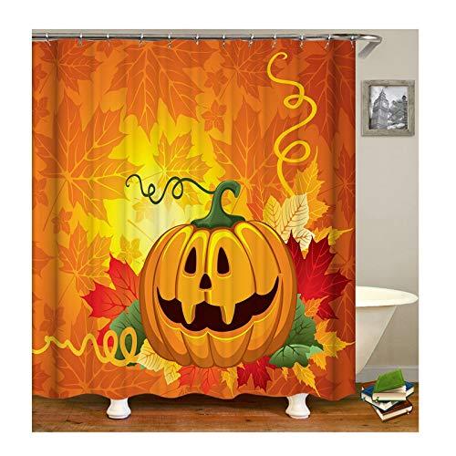 Wasserdicht Waschbar Badewanne Vorhänge Anti-Schimmel Halloween Kürbis Duschvorhang aus Polyester Bunt Vorhang für Dusche,180X180CM C141 ()