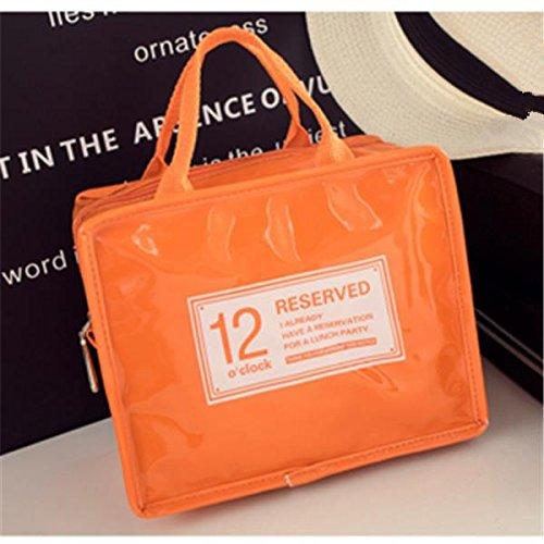Inovey In Pelle Impermeabile Picnic Pranzo Tote Bag Refrigerante Isolato Alimento Stoccaggio Contenitore Di Viaggio Forniture-Orange