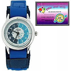 Relda Time Teacher Blue & Navy Velcro Strap Boys Girls Childrens Watch REL09