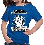 HARIZ Mädchen T-Shirt Bye Bye Kindergarten Ich Rock Jetzt Die Schule Einschulung Schulanfänger Geschenk Gratis Geschenkkarten Royal Blau 140/9-11 Jahre