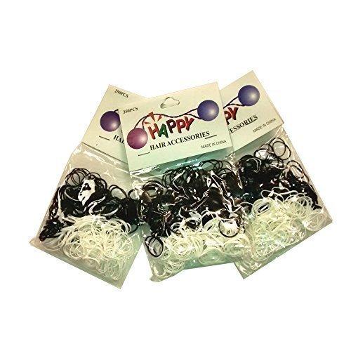 3bandes de tressage cheveux Lot de 250mini élastiques en polyuréthane pour tresses Dreads (Noir & Blanc)