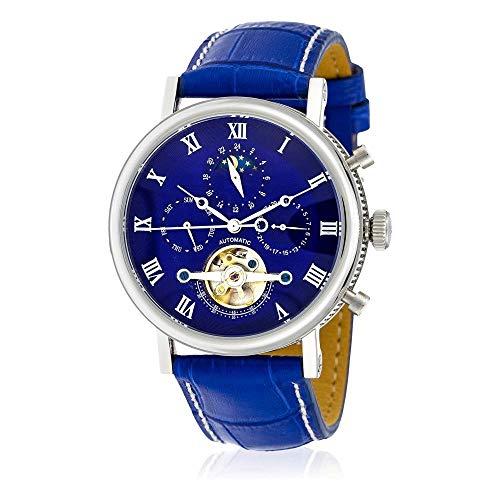 Louis Cottier - Uhr Tradition automatisch Blaues Zifferblatt - Stahlmantel 42 mm - Blauer Lederarmband - Mann