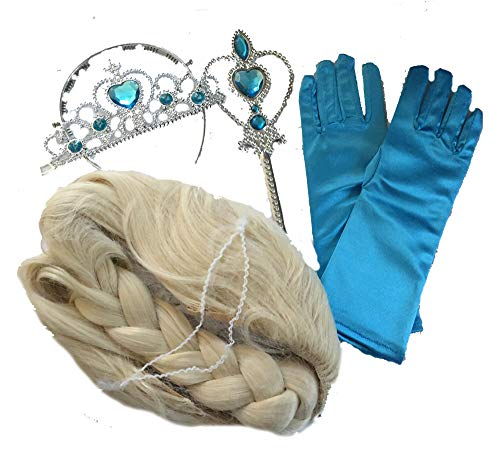 Kostüm Elsa Perücke - LadyMYP Mädchen Karneval Kostüm-Eiskönigin ELSA Fasching Set mit 4 Teile (Krone, Handschuhe, Zepter, Perücke)