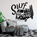 yaoxingfu Modern Wall Decal Surf The Wave with Camper Car Wall Sticker Old Vintage Auto Car Wall Mural Vinyl Camper Van Wall Poster Ay68x57cm