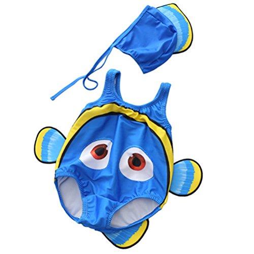 ARAUS Unisex Baby Schwimmanzug Set Einteiler Badeanzug+Badekappe UV-schutz Clownfish Kostüm für 0.5-10 Jahre (Kind Blau Ara Kostüm)