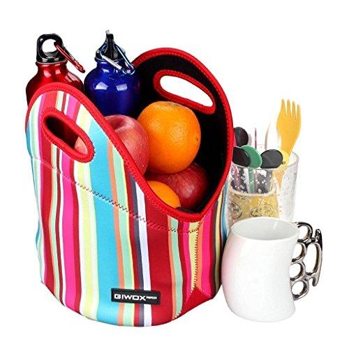 Belle neoprene Lunch Bag da Giwox, isolato pranzo Tote con Heavy-Duty Zipper, arcobaleno multicolore