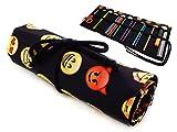 Sacchetto della Matita Cassa di matita rotolo Vintage Tela Wrap Astuccio Matita caso Emoji Black [065]