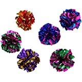 UEETEK 6Pcs Mylar Crinkle Balls Cat Toys Interactive Crinkle Cat Toy Balls Pets Cats Kittens Exercising Playing(Random Color)
