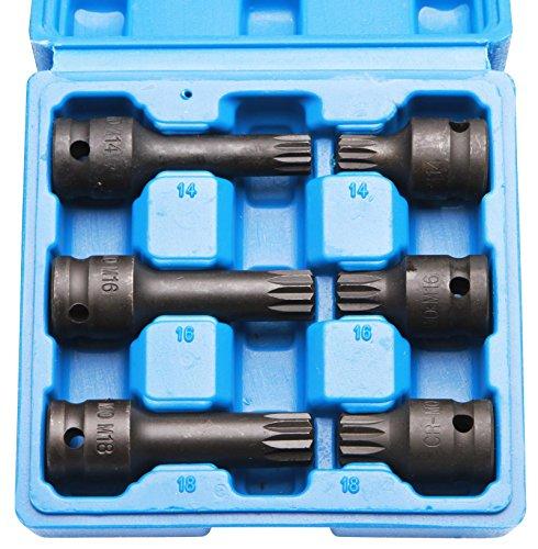 Coffret de 6 douilles pour clé à choc M14 - M16 - M18 pour cliquet 1/2\