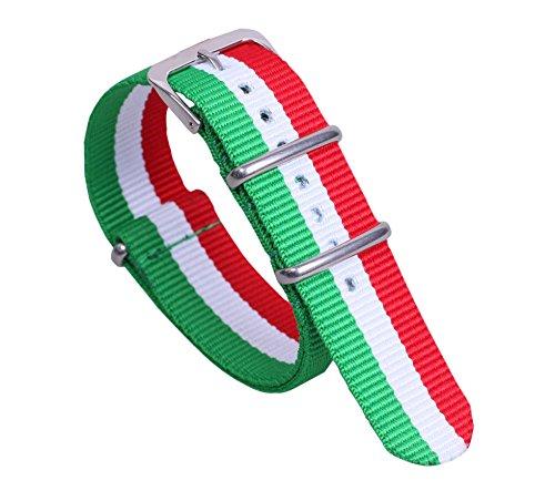 22mm Toile Style Vert/Blanc/Rouge Large NATO Hommes Doux Classique en Nylon Bandes de Bracelets de Montres de Remplacement